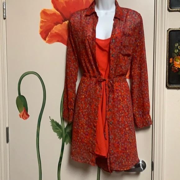 Jessika Simpson Red Floral Confetti Shirt Dress